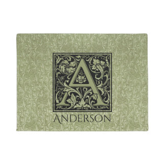 Letter A First Letter Monogram Personalized Doormat