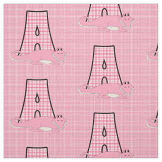Letter A Girly Pink Gingham with Alligator Fabric