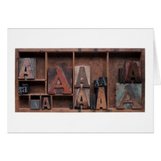 letter A in wood and metal type Card
