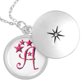 Letter A Initial Round Locket Necklace