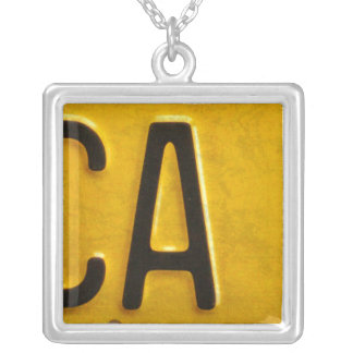 Letter A License Plate Vintage Necklace