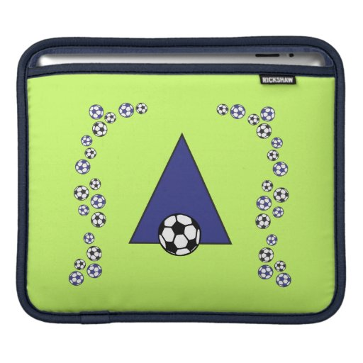 Letter A Monogram in Soccer Blue iPad Sleeves