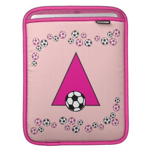 Letter A Monogram  in Soccer Pink iPad Sleeve