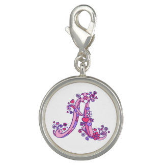 Letter A monogram pink purple whimsical charm