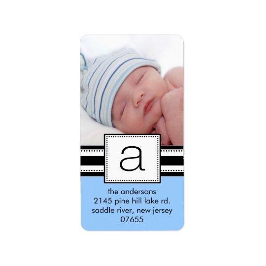 Letter A Monogram Vetical PHOTO Address Labels. Label