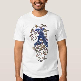 """Letter """"A"""" Ornate Decorative Floral Ladies Shirt"""