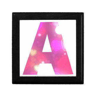 Letter A Pink Hearts Gift Box