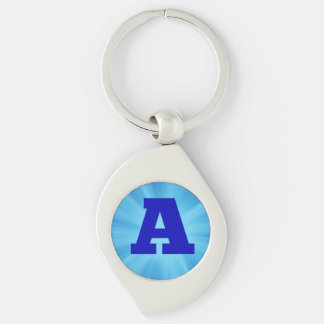 Letter A Silver-Colored Swirl Key Ring