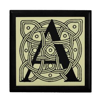 Letter A Vintage Celtic Knot Monogram Large Square Gift Box