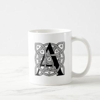 Letter A Vintage Celtic Knot Monogram Mugs