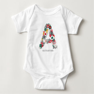 Letter A | Whimsical Floral Letter Monogram I Baby Bodysuit
