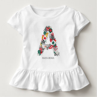 Letter A | Whimsical Floral Letter Monogram I Toddler T-Shirt