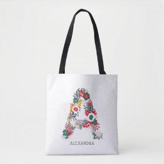 Letter A | Whimsical Floral Letter Monogram I Tote Bag