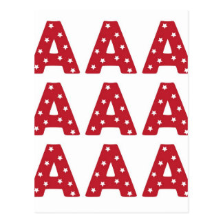Letter A - White Stars on Dark Red Postcard