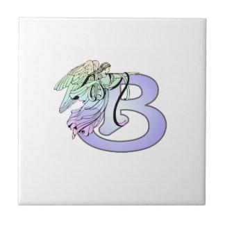 Letter B angel monogram alphabet initial light blu Small Square Tile