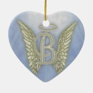 Letter B Angel Monogram Ceramic Ornament