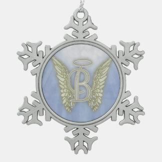 Letter B Angel Monogram Pewter Snowflake Decoration