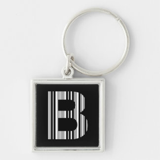 LETTER B BAR CODE First Initial Barcode Pattern Key Ring