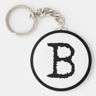 Letter B Basic Round Button Key Ring