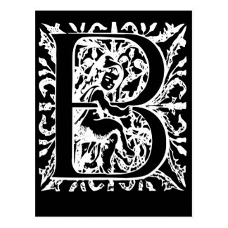 Letter B Black and White Monogram Cards Postcard