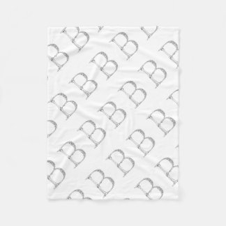 Letter B Bone Initial Fleece Blanket