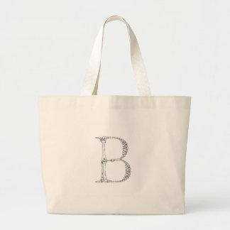 Letter B Bone Initial Large Tote Bag