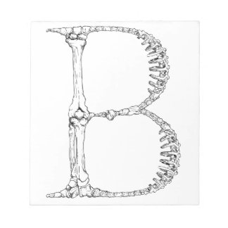 Letter B Bone Initial Notepad