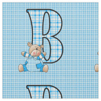 Letter B Boyish Blue Plaid Teddy Bear Fabric