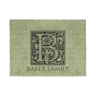 Letter B First Letter Monogram Personalised Doormat