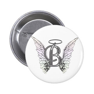 Letter B Initial Monogram with Angel Wings & Halo 6 Cm Round Badge