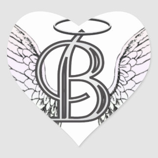 Letter B Initial Monogram with Angel Wings & Halo Heart Sticker