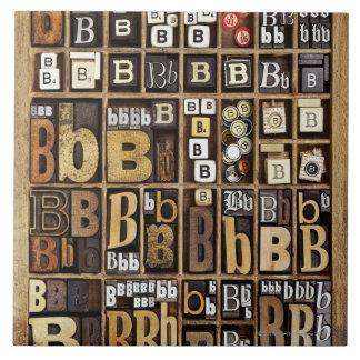 Letter B Large Square Tile