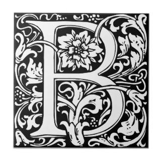 Letter B Medieval Monogram Vintage Initial Small Square Tile