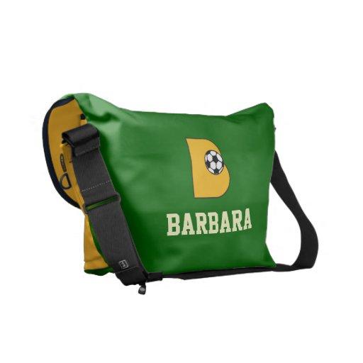 Letter B Monogram in Soccer Gold Messenger Bag