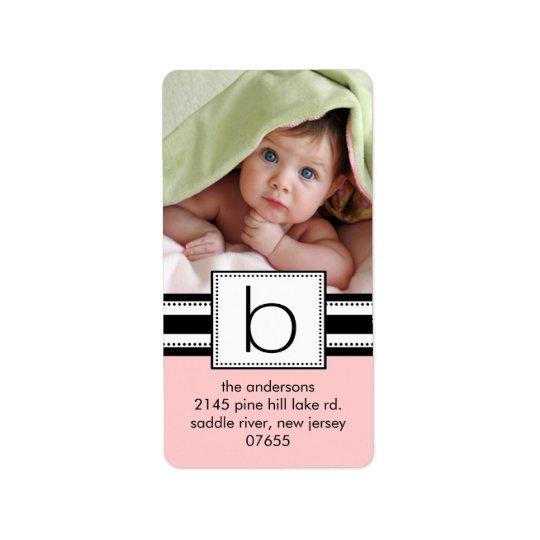 Letter B Monogram Vertical PHOTO Address Labels. Address Label