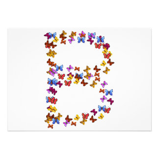 Letter B of colorful butterfly graphics Invite