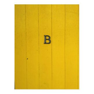 Letter B Rustic Yellow Wood Postcard