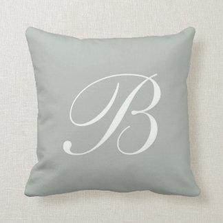 Letter B Silver Gray Monogram Pillow