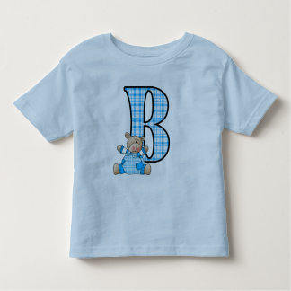 Letter B with Blue Plaid and Teddy Bear Toddler T-Shirt