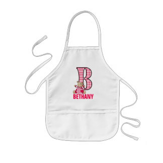 Letter B with Teddy Bear for Girls Kids Apron