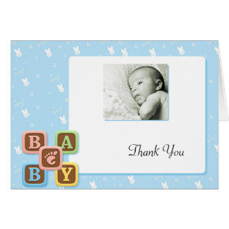 Letter Blocks on Blue Bunny Thank You Stationery Note Card