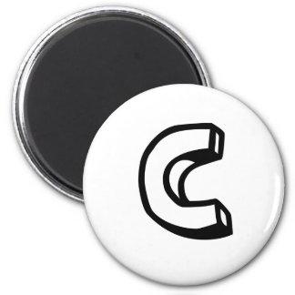 Letter C 6 Cm Round Magnet