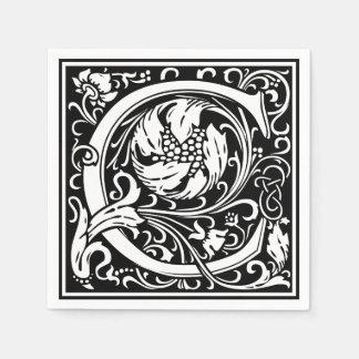 Letter C Medieval Monogram Vintage Initial Disposable Napkin