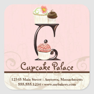 Letter C Monogram Cupcake Logo Business Stickers