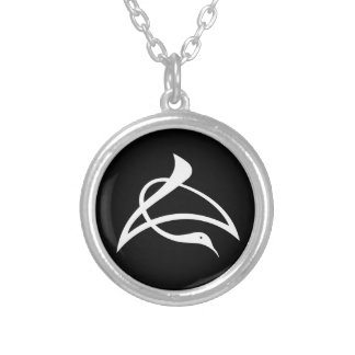 Letter crane of length silver plated necklace
