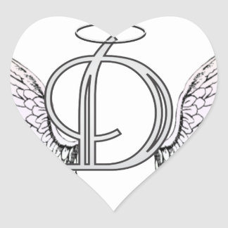 Letter D Initial Monogram with Angel Wings & Halo Heart Stickers