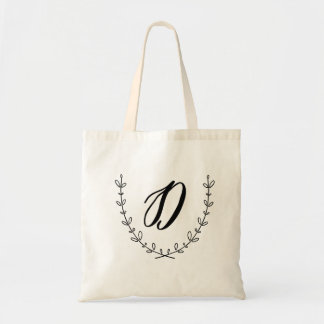 Letter D & Laurel Wreath Tote Bag