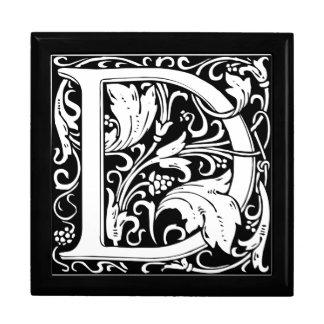 Letter D Medieval Monogram Vintage Initial Large Square Gift Box