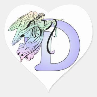 Letter D Monogram Initial Angel Wings Halo Heart Sticker