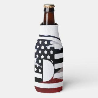 Letter D Monogram Initial USA Flag Pattern Bottle Cooler